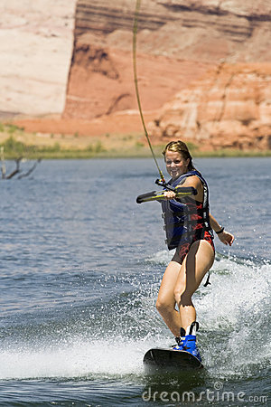 Girl Wakeboarding at Lake Powe