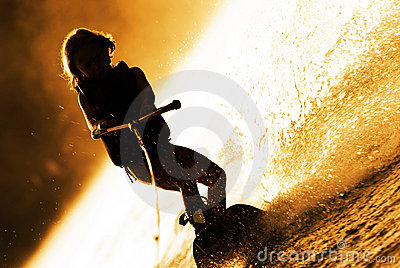 Girl Wakeboarding Silhouette