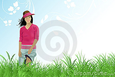 Girl walk in the field