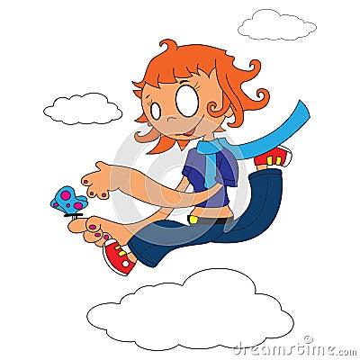 Girl walking on clouds