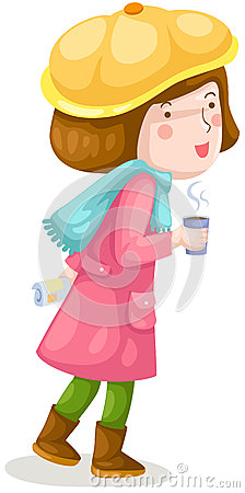 Girl walking with coffee