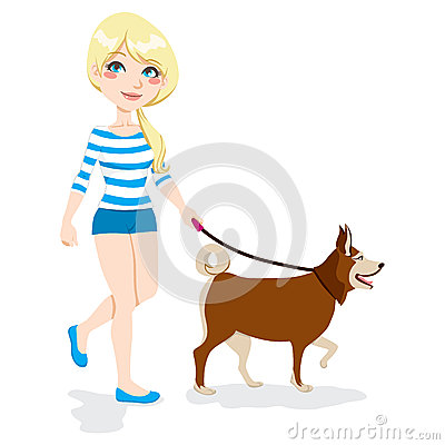 Girl Walking Dog Stock Image - Image: 26099841