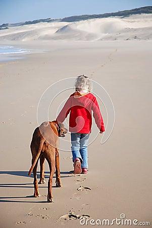 Free Girl Walking Dog Stock Images - 5732964