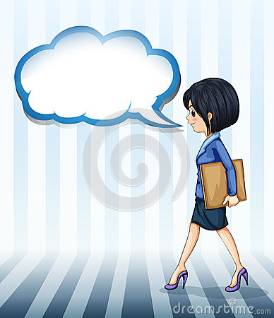 A girl walking with an empty callout
