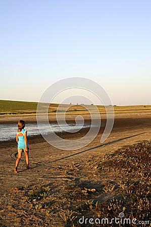 Girl walking on island