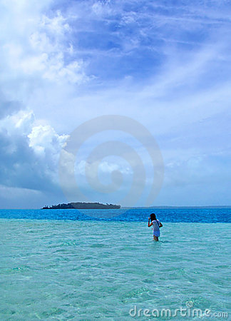 Girl Walking in Lagoon