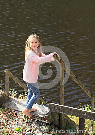 Girl Walking To River Royalty Free Stock Image Image