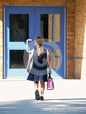Girl Walking To School Royalty Free Stock Photos Image