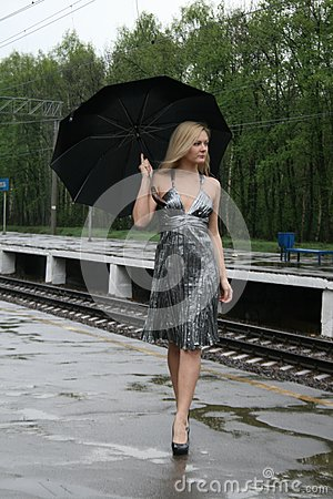 Girl walking with an umbrella