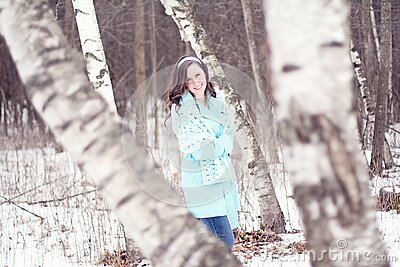 Girl Walking Through Wintry Forest Free Public Domain Cc0 Image