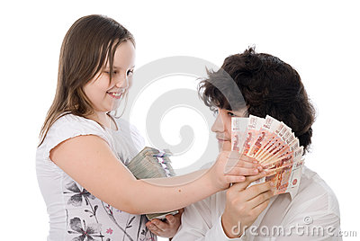 Girl wants to take away money from boy