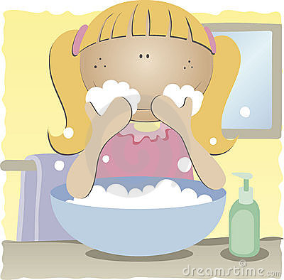 Free Girl Washing Her Face Royalty Free Stock Image - 14863406