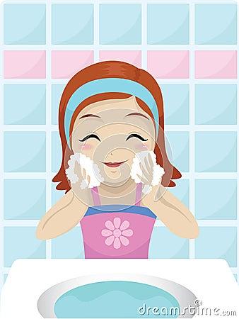 Girl Washing Her Face Royalty Free Stock Photo Image