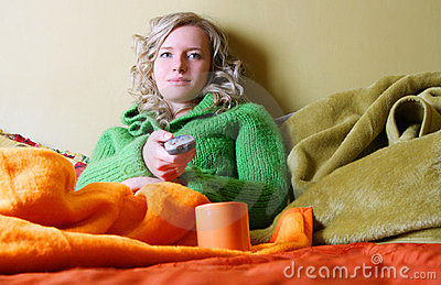 Girl is watching tv