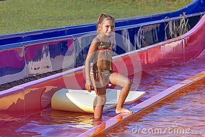 Girl on the water slide