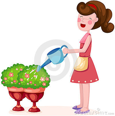 Vector Kid Watering Plant Royalty Free Stock Photos - Image: 16013018