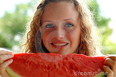 Girl with watermelon