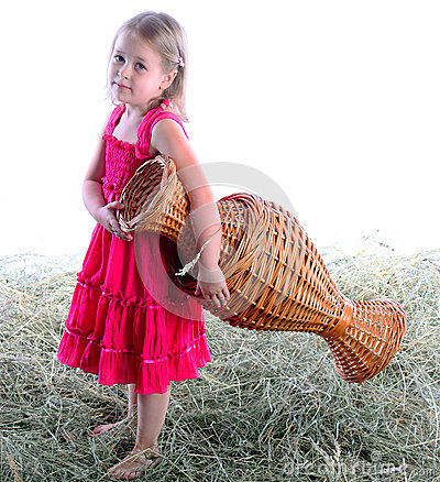 The girl with a wattled jug barefoot on hay
