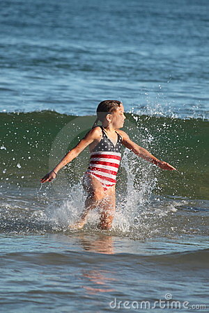 Girl and Waves