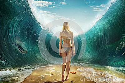 Girl in the waves