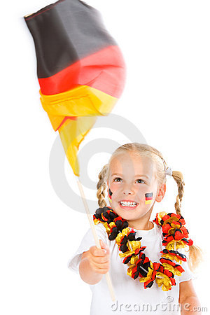 Girl waving german flag