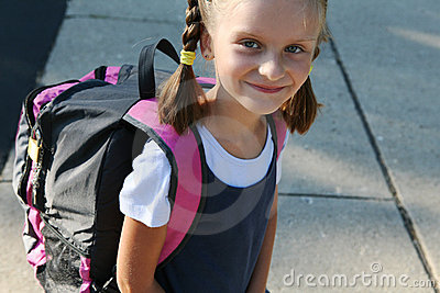 Girl  on the way to school.