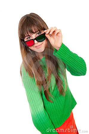 Girl wearing 3D glasses
