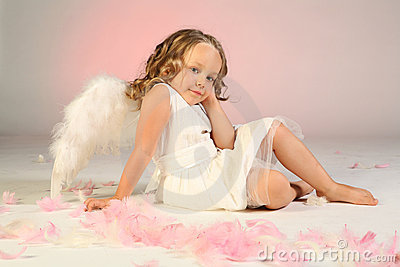 Girl wearing angel wings