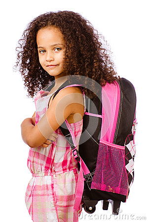 Girl wearing backpack