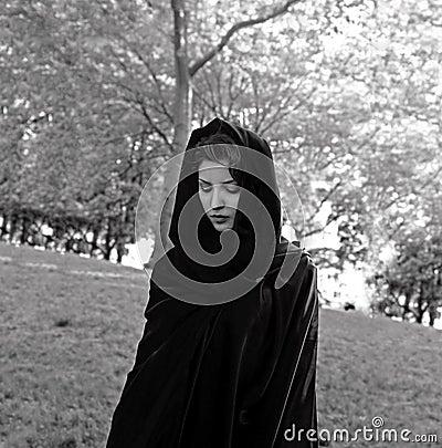 Girl wearing cloak