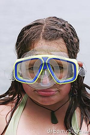 Girl wearing diving mask