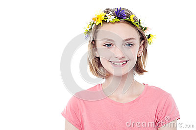 Girl wearing flowers crown