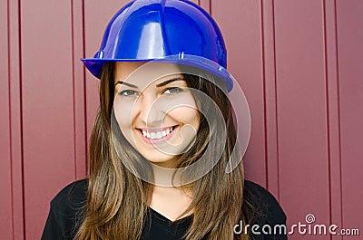 Girl wearing a helmet.