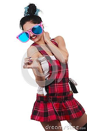 Girl Wearing Large pink Eyeglasses