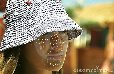 Girl Wearing Light Sun Hat