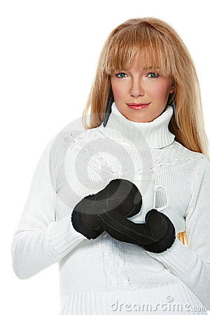 Girl wearing mittens