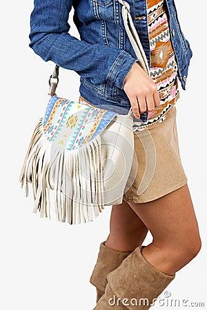 Girl wearing modern purse