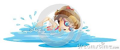 A girl wearing a pink swimwear swimming
