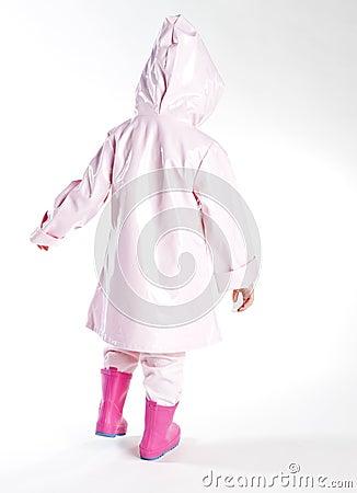 Girl wearing raincoat