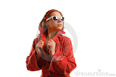 Girl wearing red jacket and sunglasses