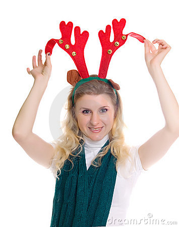 Girl wearing a reindeer headband