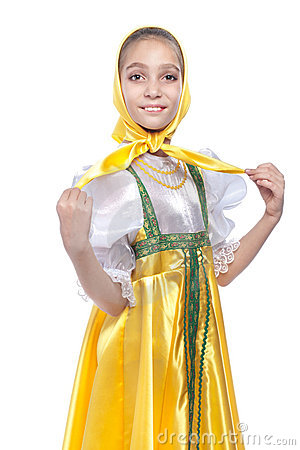 Girl wearing russian dancing costume