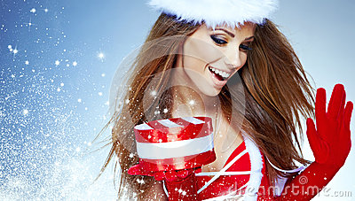 girl wearing santa claus clothes  with christmas