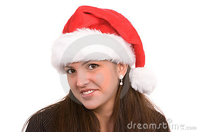 Girl wearing Santa Hat