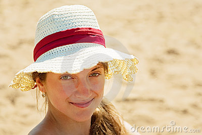 Girl wearing straw hat