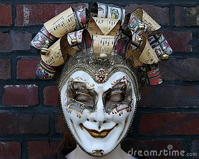 Girl wearing a venetian carnival mask (eyes shut)