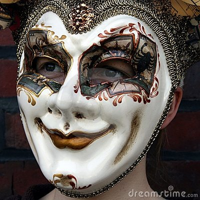 Girl wearing a venetian carnival mask normal gaze