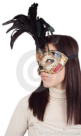 Girl wearing venetian mask, on white