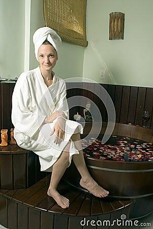 Free Girl Wearing White Bathrobe - Vertical Royalty Free Stock Images - 5559789