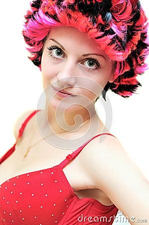 Girl wearing wig